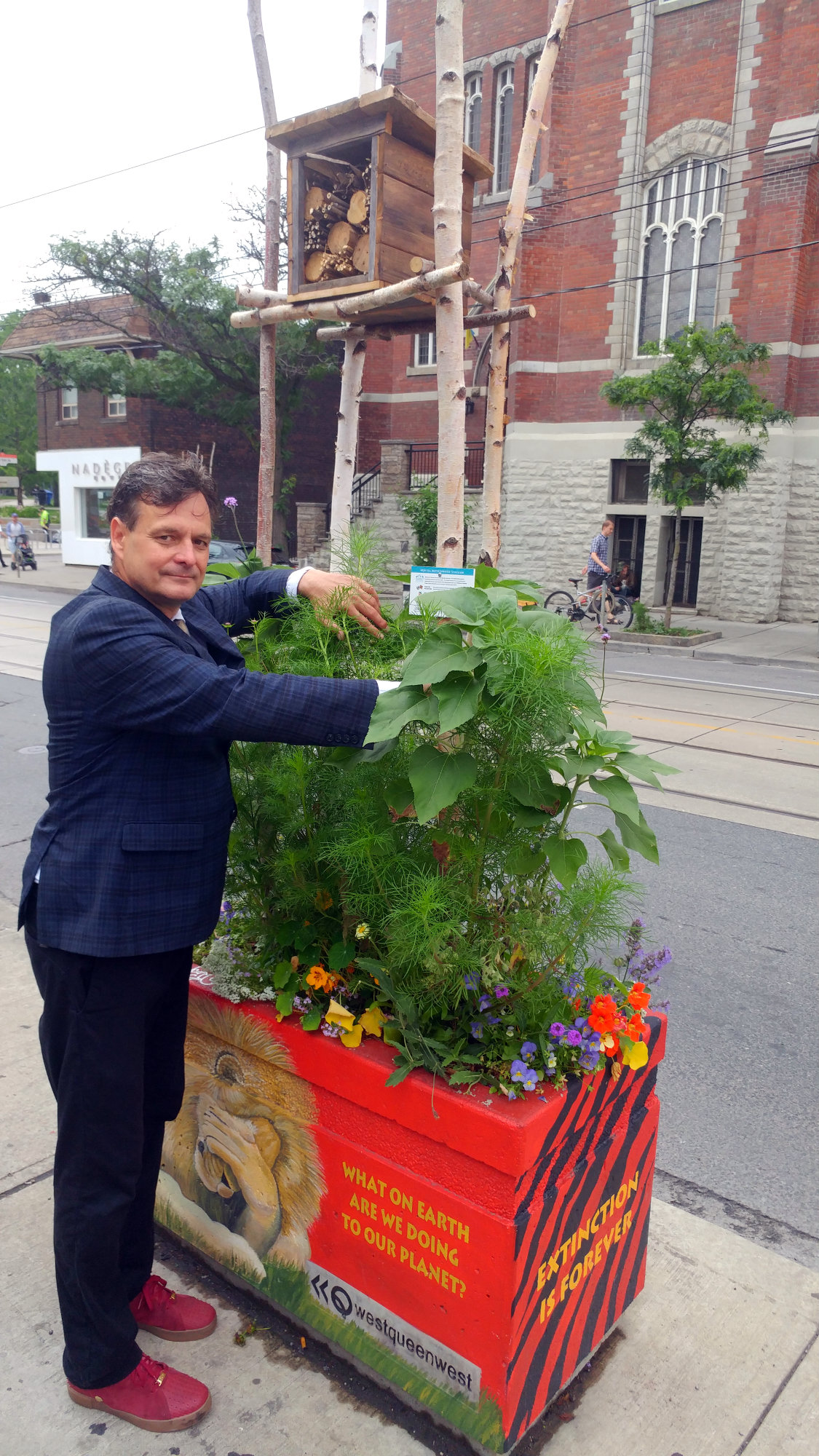 Rob Sysak of WQW BIA told us about the rustic-looking bee hotels installed in several planters.