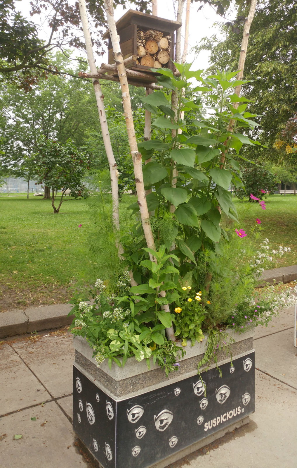 Planter with bee hotel, WQW